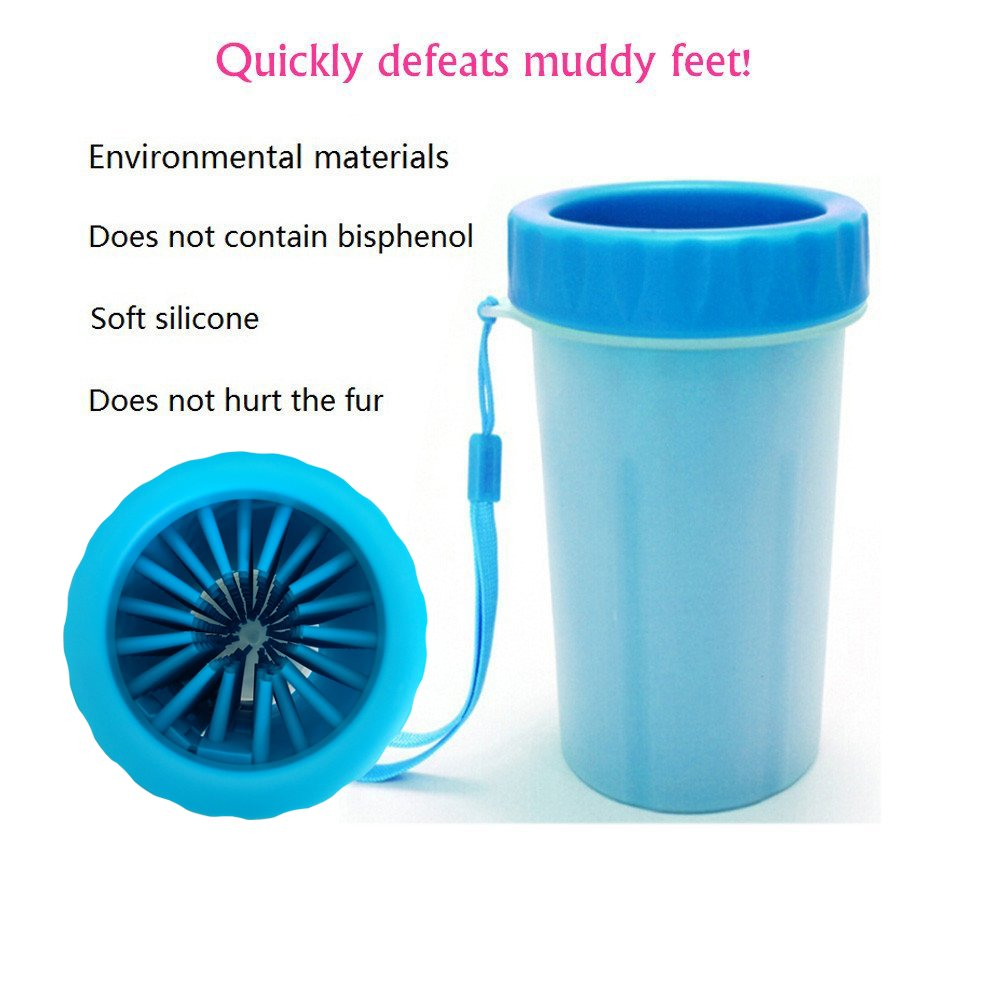Tellunow Pet Foot Washer Cup Dog Cleaning Cup Foot Cup Antibacterial Soft Gentle Silicone Bristles Dog Paw Cleaner Pet Feet Washer for Dogs Cat Grooming (Big Size)