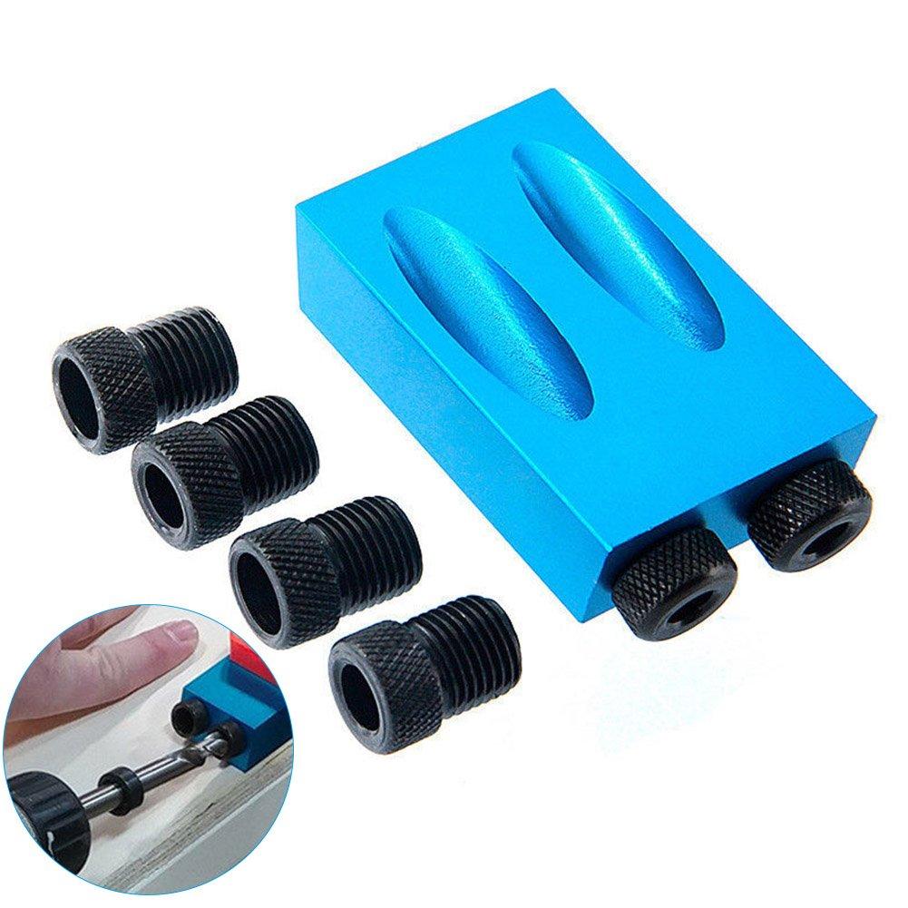 Alftek Poche Trou Jig kit 6 8 10 mm Adaptateur de Disque pour Travail du Bois Angle Guide de Trous de perç age Bois Outils