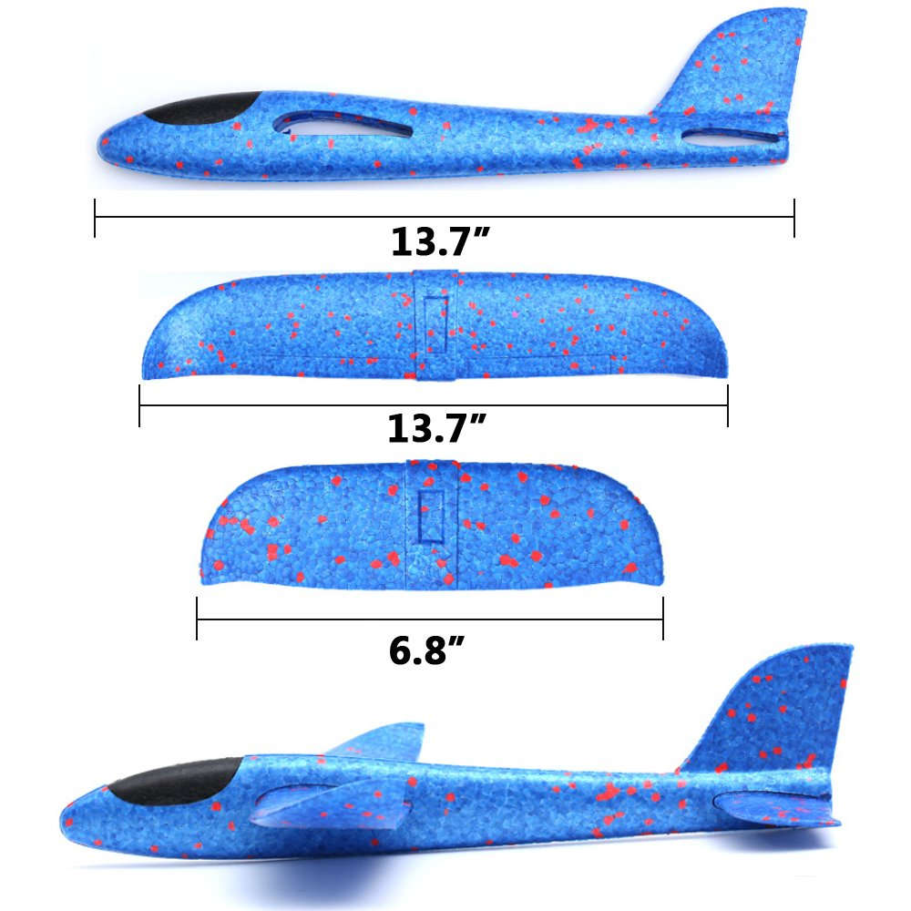 Weoxpr 2 Pack Soft Foam Airplane, Manual Throwing Inertial Plane Model for Outdoor Sports Toy & Kids Toys Gift by Weoxpr (Image #3)