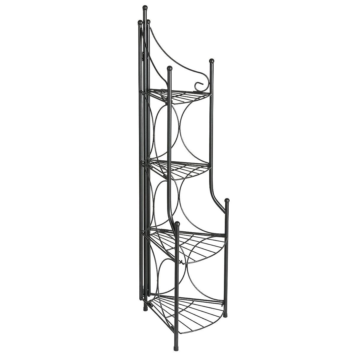DOEWORKS 4 Tier Folding Plant Stand Pot Rack & Metal Corner Shelf, Storage Shelves for Living Room Bedroom,11.2 L x 11.8 W x 43.3 H