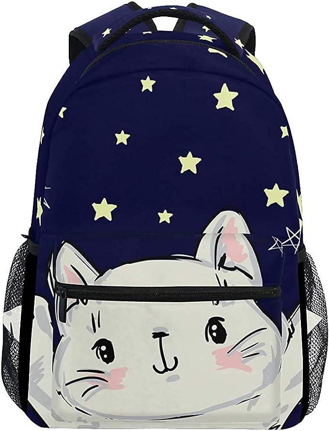 Bookbag Gato Blanco Lindo con Estrellas Mochila Grande