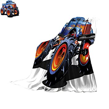 Man Cave Decor Blanket Cartoon Monster Truck Huge Tyres Off-Road Heavy Large Tractor Wheels