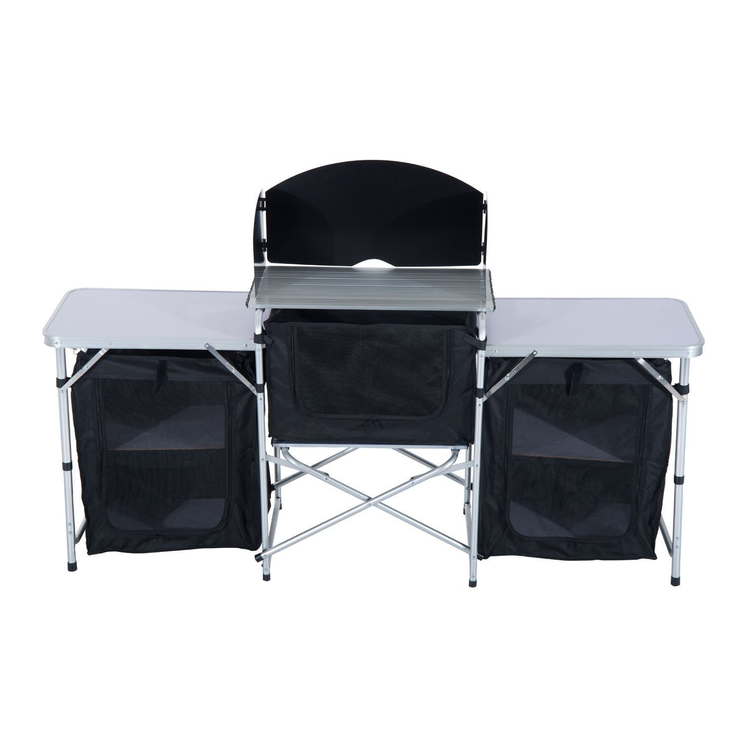 Clever Market Camping Folding Table Comfort Durable Portable Kitchen Picnic Cabinet Solid Comfortable Aluminium Barbeque Tabletops Storage Organizer