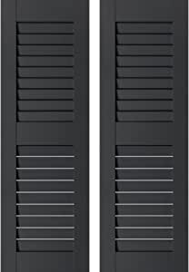 Per Pair 12 x 35 Unfinished Ekena Millwork RWL12X035UNP Exterior Real Wood Pine Open Louvered Shutters