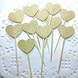 DOOXOO Handmade Glittery Gold Valentine/Love Heart Cupcake Toppers Set of 36