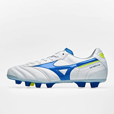 White-Wave Cup Blue-Safety Yellow Mizuno Morelia II MD Chaussure de Foot