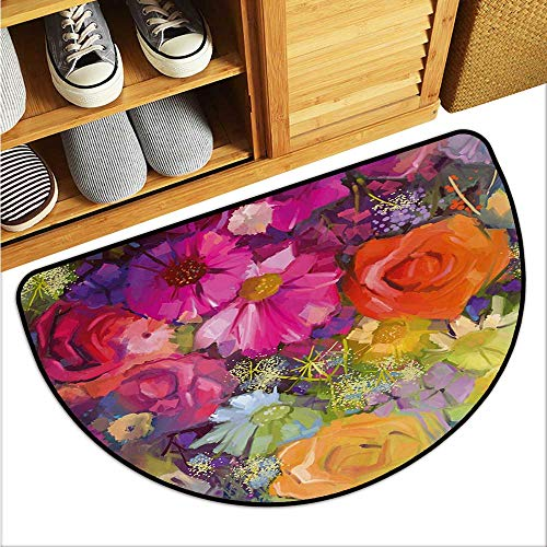 warmfamily Floral Outdoor Door mat Vibrant Flower Bouquet with Daisy Peony Gerbera Petals Romantic Arrangement Print Easy to Clean W35 x L23 Multicolor