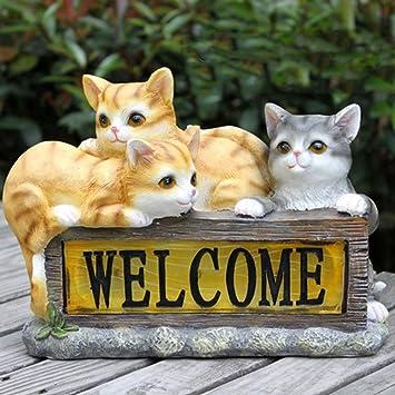 屋外ガーデンかわいい小さな怠惰な猫ソーラー装飾ライト動物工芸ガーデン風景装飾-29.5 * 11 * 22cm A