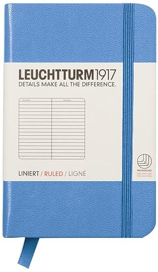 Leuchtturm1917 Mini - Cuaderno (A7, de rayas), color azul