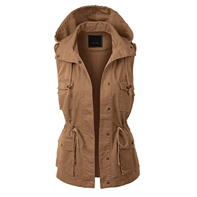 Jenkoon Women's Anorak Utility Jacket Vest Multi-Pockets Outdoors Vest Sleeveless Jacket at Women's Coats Shop