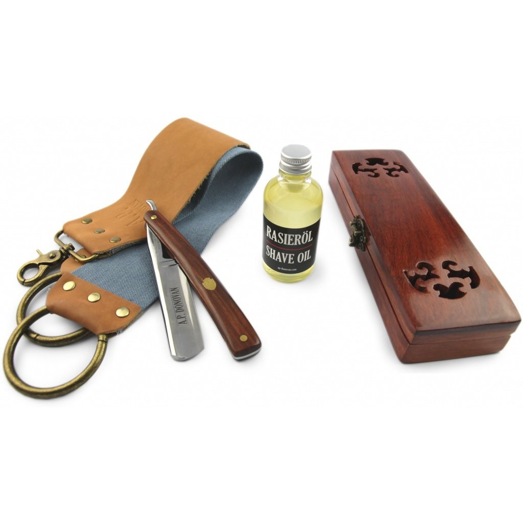 A.P. Donovan - Sólido de acero de 7/8 de afeitar de carbono (no inoxidable) mango de plástico negro, con la caja de madera, para principiantes