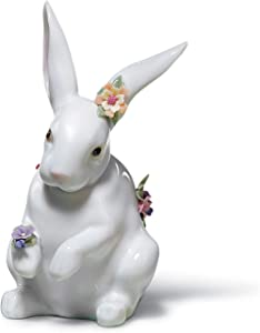 LLADRÓ Sitting Bunny with Flowers Figurine. Porcelain Rabbit Figure.