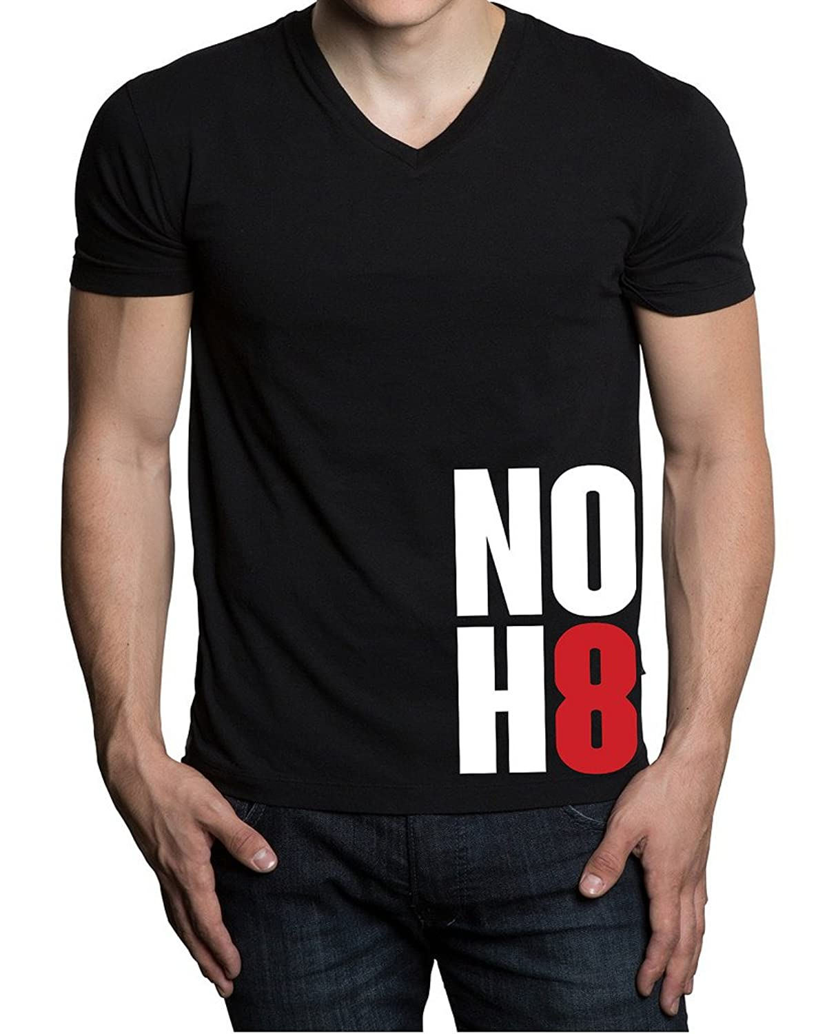 No H8 No Hate Men's Black V-Neck T-Shirt V238 Black