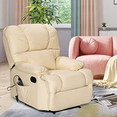 Massage Recliner Chair with Heating and Vibrating, WATERJOY Full Body Leather Massage Chair with Control Black Sofa Chair Recliner for Living Room (Beige): Kitchen & Dining