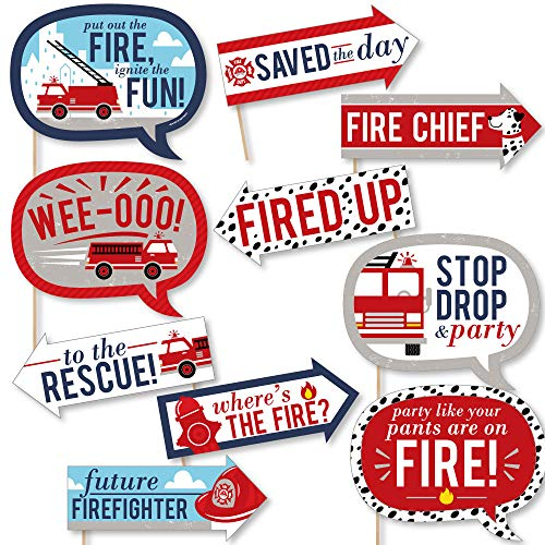Funny Fired Up Fire Truck - Firefighter Firetruck Baby Shower or Birthday Party Photo Booth Props Kit - 10 ()