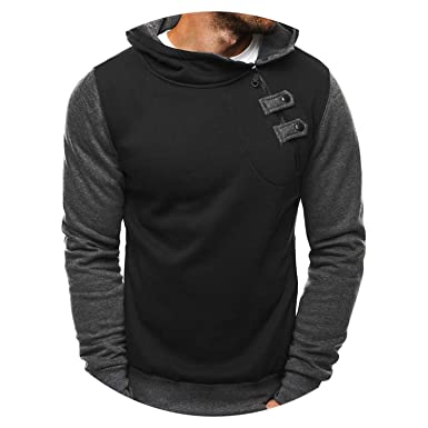 Men Hoodies Fleece Thick Zipper Hoodie Patchwork Sweatshirt Slim Hip Hop Sudaderas Hombre,Black,