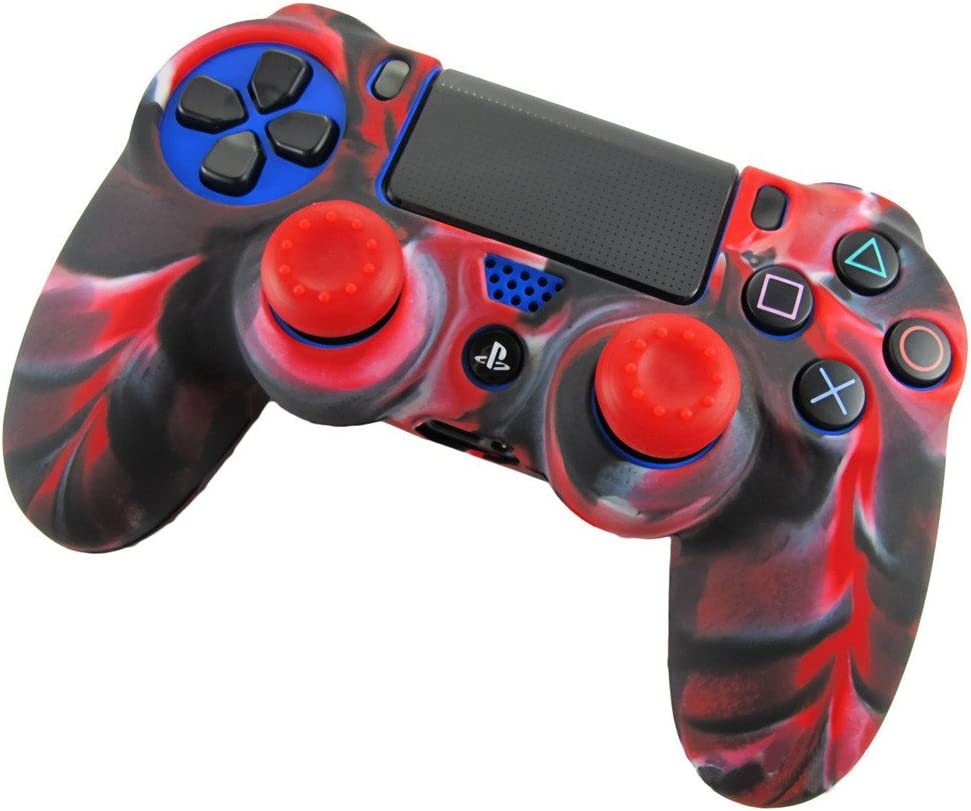 Skin X 3 + Thumb Grip X 6 SunAngel Soft Silicone Thicker Half Skin Cover for PS4 //SLIM //PRO Controller Set