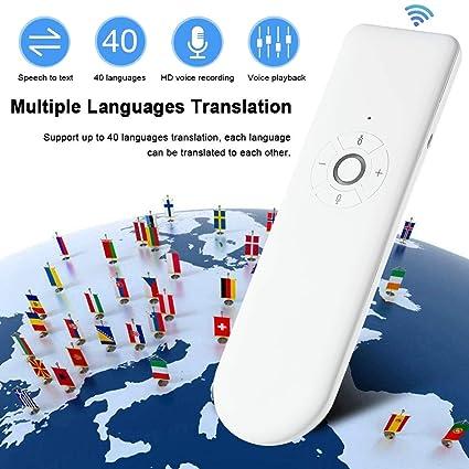 Smart Language Translator Device,Portable Pocket Interpreter,Multilingual Translator Support 40 Languages Translation//Bluetooth Connection for Learning Travelling Business etc.