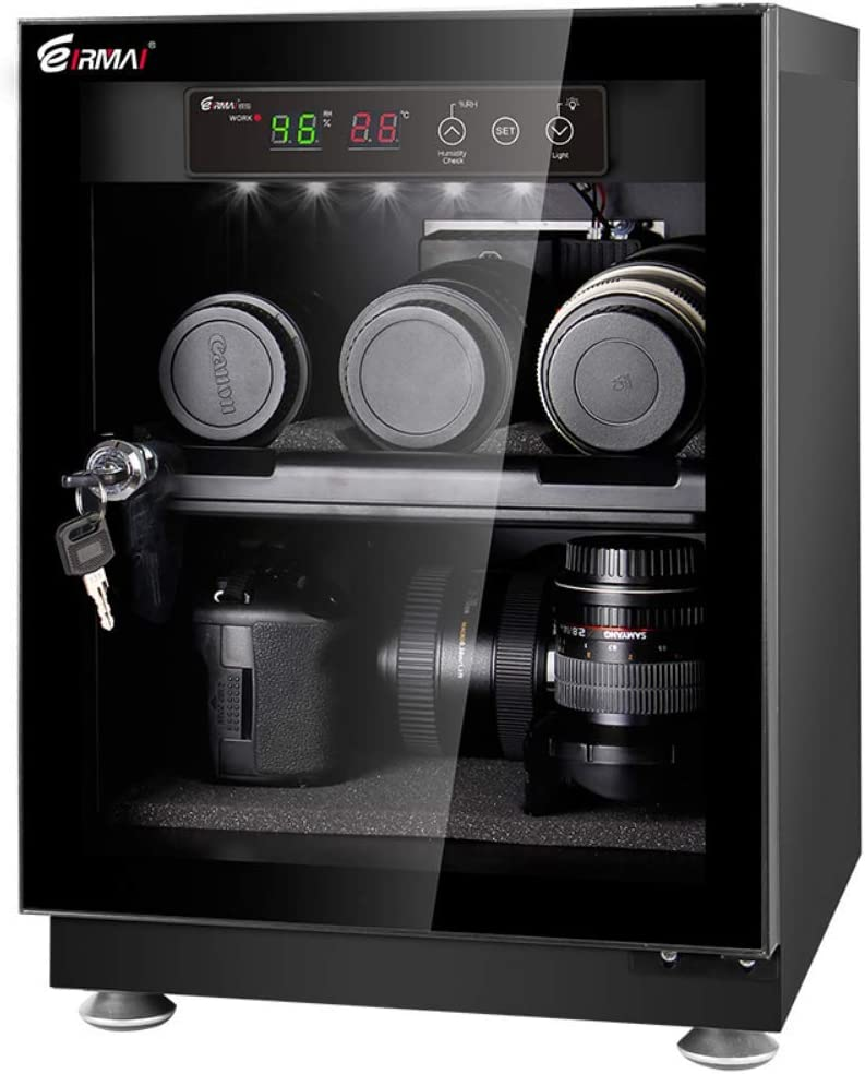 Eirmai Digitally Controlled Dehumidifying Dry Cabinet with Key Lock for Camera Lens, Electronic Equipment and Precious Valuables (30L) 30 Liter Capacity