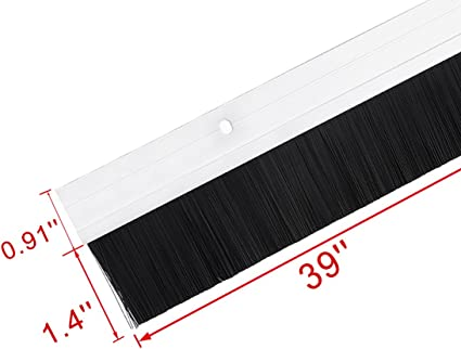 uxcell/® Door Bottom Sweep White Aluminum Alloy w 0.8-inch Black PP Silicone Soft Brush 39-inch x 1.7-inch
