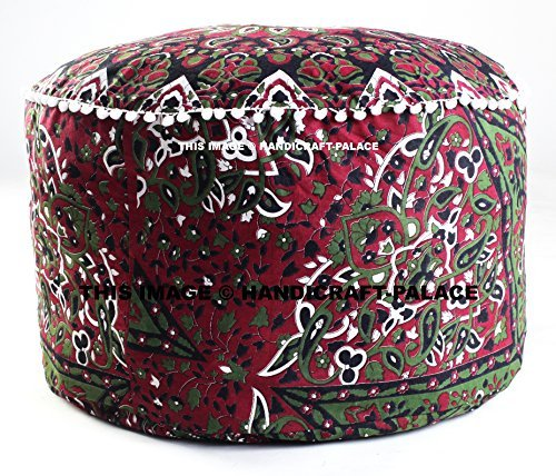 Indian Star Mandala Pouf Ottoman Footstool Poof Pouffe poufs Ottomans Pouffes Round Bohemian Furniture Footstool 14''x24'' Inch Decor Ottoman Pouf Cover Seating Furniture Footstool ''HANDICRAFT-PALACE''