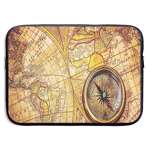 Antique Compass On Ancient World Map Laptop Sleeve Case Notebook Bag Protective Cover for 13 Inch -