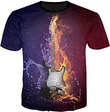 Frío Hombre 3D Camisetas Guitarra impresión del Agua y del Fuego Camisetas Hombre T Remata la Camisa de Verano: Amazon.es: Ropa y accesorios