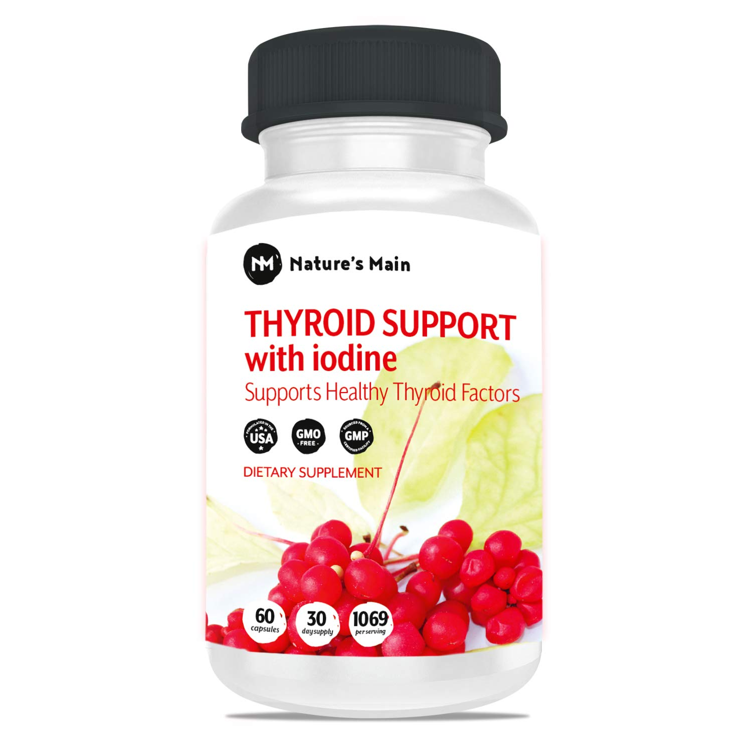 Thyroid Support Energy Pills ǀ Iodine Supplement & Metabolism Booster for Weight Loss, Brain Fog & Nature Throid with Adaptogens Ashwagandha, L-Thyrosine & Selenium Supplements ǀ 60 Capsules by NM Nature's Main