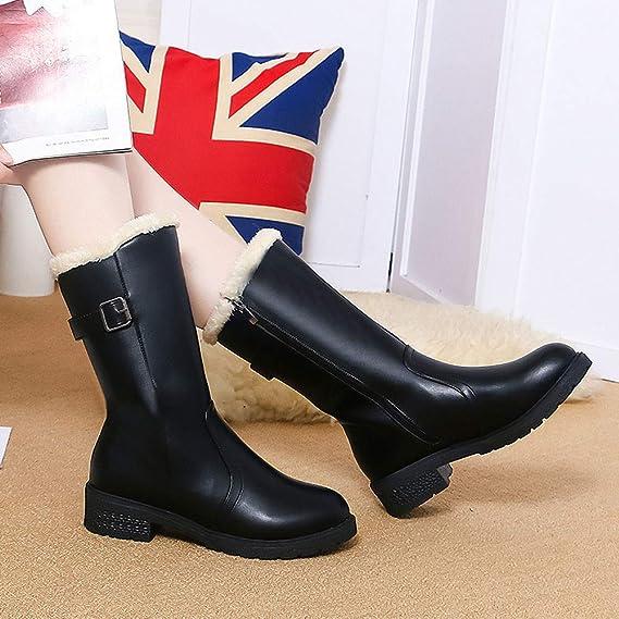 JiaMeng Zapatos de mujer Viernes Negro Botines Mujer Botas de Lluvia de Nieve a Media Pierna Navidad Calzado Calzado Calzado: Amazon.es: Ropa y accesorios