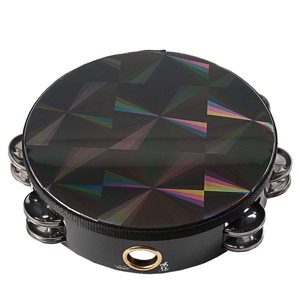 Remo 8 inch Black Prismatic Head Tambourine (Double Jingle; Age 12+) by Remo