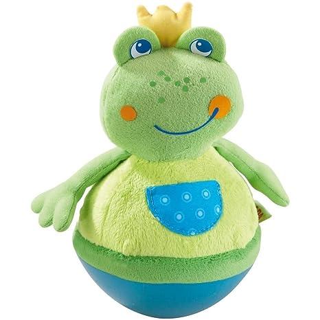 Haba 5859 - Stehauffigur Frosch Baby- und Kleinkindspielzeug, ab 6 Monaten, Motorikspielzeug aus weichem Veloursstoff mit lus