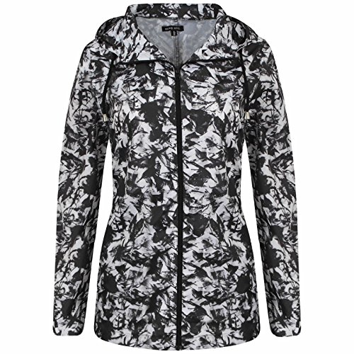 Chubasquero para mujer con capucha BLACK & WHITE PATTERN