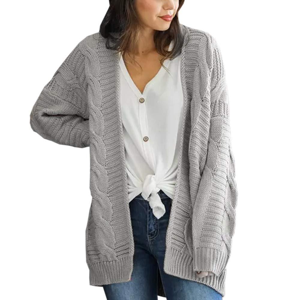 Faionny Womens Knit Sweater Solid Cardigan Sweater Loose Long Jacket Coat Long Sleeve Knitwear Parka Autumn Winter Outwear