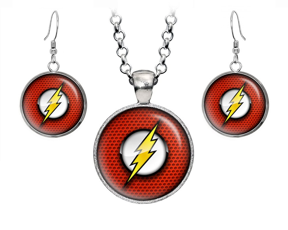 Flash Pendant Necklace, Flash Earrings, DC Comics Jewelry, Justice League Necklace, Birthday Gift Set by Wearable Treasures