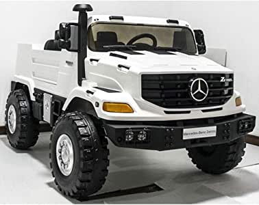 Dorsa 2 Seater 12V Kids Ride On Mercedes Benz Zetros Electric Truck, White, 53.34 x 33.66 x 32.28 inch, DX-196-WHITE