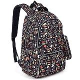 UTO Fashion Backpack Waterproof Nylon Rucksack School College Bookbag Multi Leaves Pattern Shoulder Purse Pencil Bag