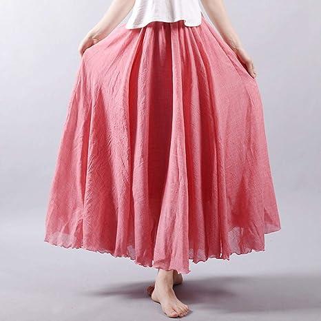 HEHEAB Falda,La Mujer Ropa De Cama De Algodón Cintura Elástica Faldas Largas Faldas Maxi Plisada Playa Boho Vintage Faldas De Verano: Amazon.es: Deportes y aire libre