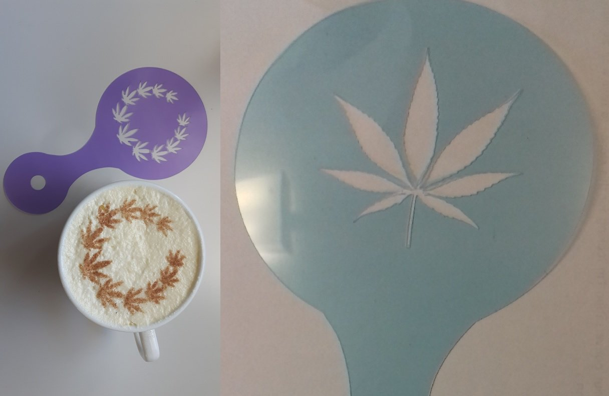 2 x cannabis leaf coffee cup / cappuccino stencils (2 different designs) reusable many times cafe restaurant pub leaves hemp marijuana