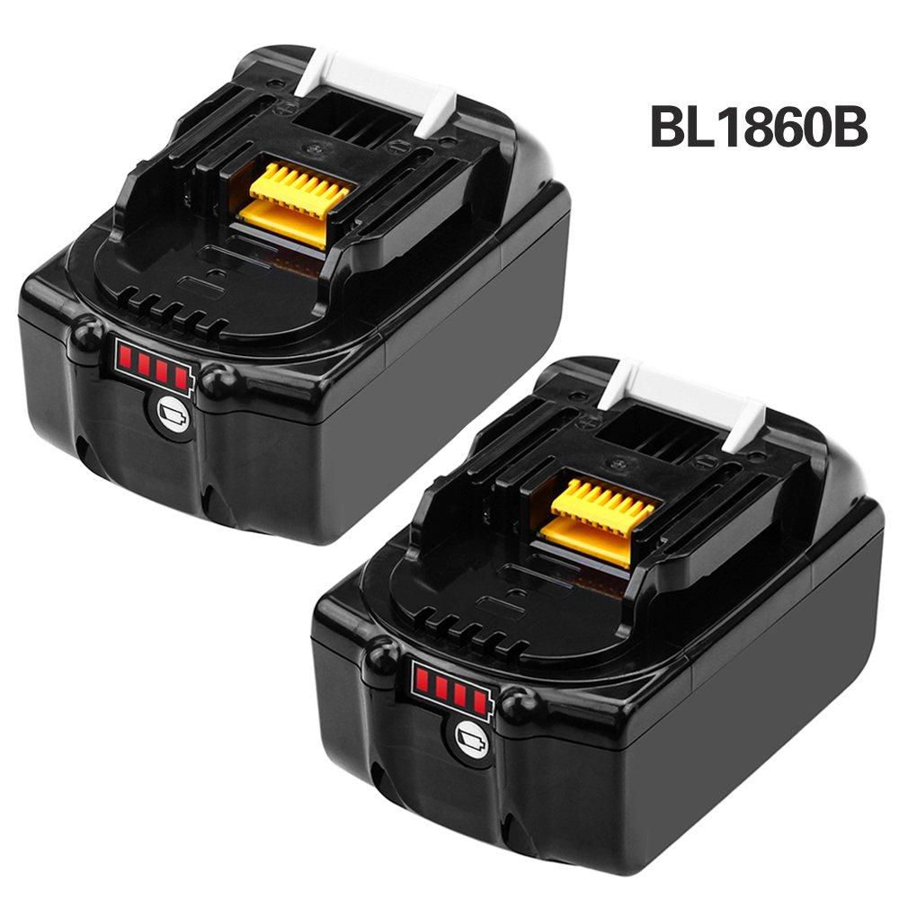 Moticett 2 Pack BL1860B 6.0Ah Replace for Makita 18V Battery LXT Lithium-Ion BL1860 BL1850 BL1840 BL1830 BL1845 BL1835 BL1815 LXT400 with LED Light Indicator Power Tools Battery by Moticett