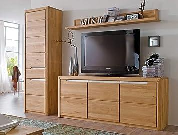 Wohnwand Pisa 33 Eiche Bianco Massiv 3 Teilig Medienwand Tv Wand