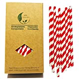 Bright Red and White Stripes Barber Drinking Paper Straws, 7.75 inch Red Stripes (100 Pack)