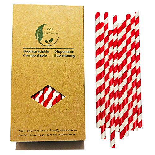 Bright Red And White Stripes Barber Drinking Paper Straws, 7.75 Inch Red Stripes for Daily Use (100 Pack)