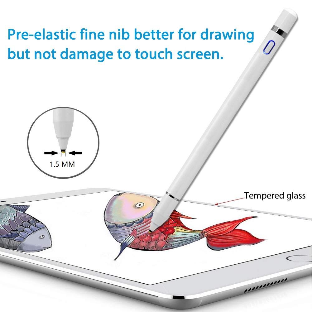 Aktiver Stylus Stift, 1,5 mm feiner, intelligenter Digitalstift zum Zeichnen und Schreiben auf kapazitiven Touchscreens, kompatibel mit Apple iPad Pro Air iPhone und Samsung Android-Tablets (weiß)