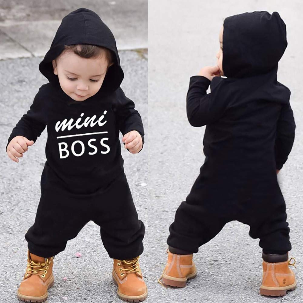 Baby Boys Girls Clothes Long Sleeve Hoodie Romper Black Baby Outfit Jumpsuit Footie