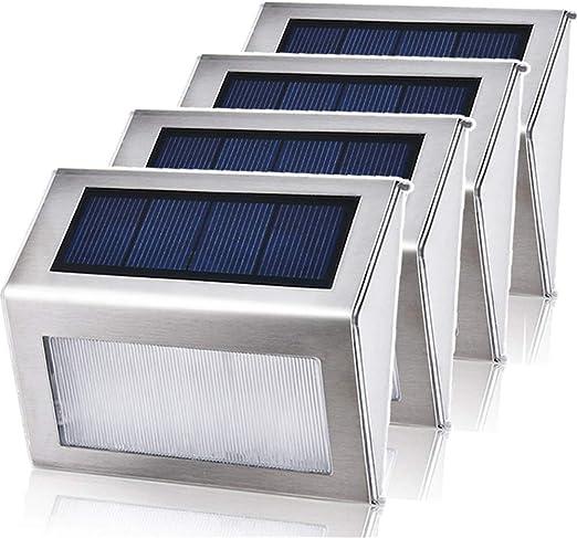 Framy 4Pcs Solar De La Escalera De Luz Energía Solar Rode Noche Lámparas De Pared Luz Solar Al Aire Libre del Paisaje De La Lámpara De La Calle Yard,Whitelight: Amazon.es: Jardín