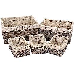 Stone Gray Wicker Decorative Organizing Baskets - 3 Small, 1 Medium, 1 Large Text Design - 5 Piece Set