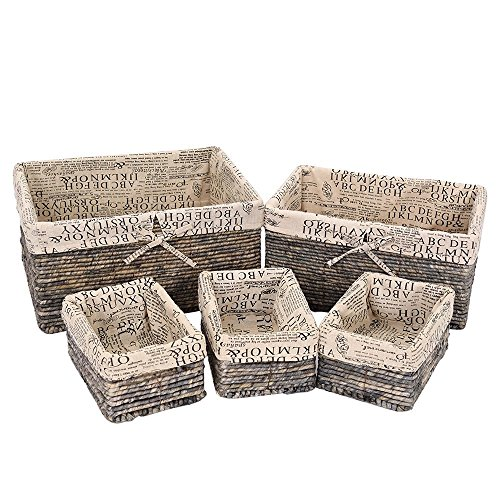 Gray Wicker Decorative Organizing Baskets