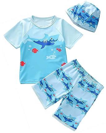 70e048151f Amazon.com: EGELEXY Baby Boys Rash Guard Sports Swimsuits Kids Shark  Sunsuit Swimwear 3-Piece Swim Sets: Clothing