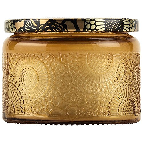- Voluspa Baltic Amber Petite Embossed Glass Jar Candle, 3.2 oz.