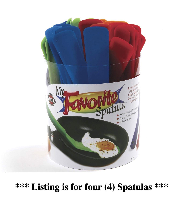 Norpro My Favorite Spatula Assorted Colors Nylon Nonstick 11' Single (4-Pack)